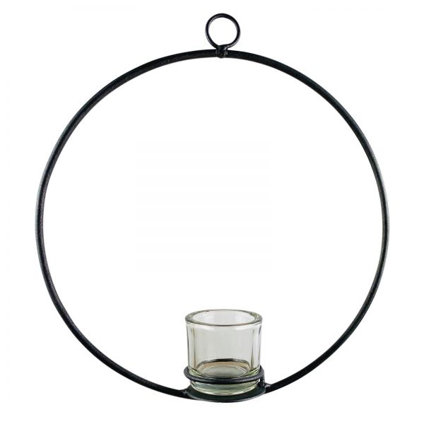 Parts4Living Metall Ring mit Teelichtglas zum Hängen Skandi anthrazit matt 38cm
