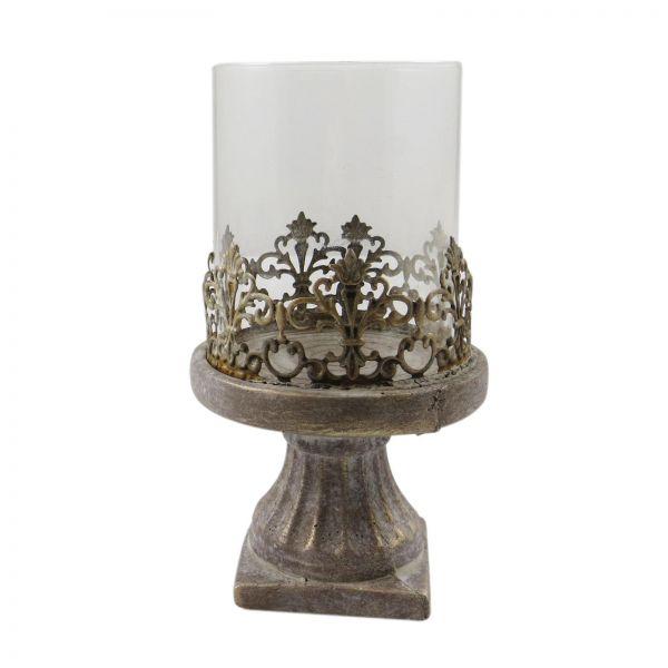 Parts4Living Zement Windlicht Kerzenhalter Kerzenständer Glaseinsatz 13 x 22 cm