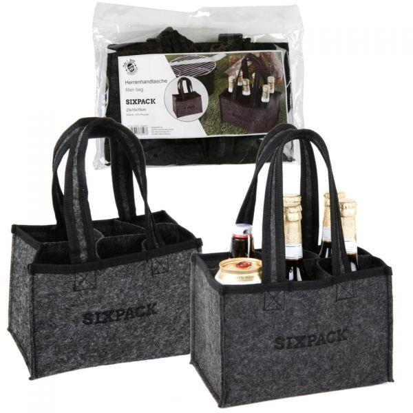 """Parts4Care Flaschenträger """"Sixpack"""" Herrenhandtasche für 6 Bierflaschen grau"""
