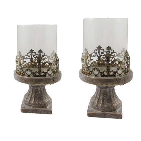 Parts4Living Zement Windlicht im 2er Set Kerzenständer mit Glas 13x22 & 15x28cm