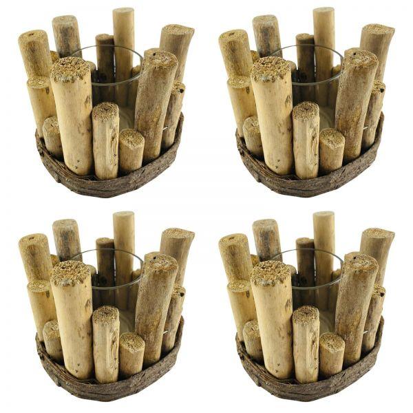 Parts4Living Holz Kerzenhalter Windlicht mit Glaseinsatz maritim 4er Set 14x11cm