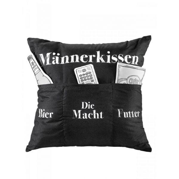 "Parts4Living Kissen ""Männerkissen"" Dekokissen zum Befüllen schwarz/weiß 43x43 cm"