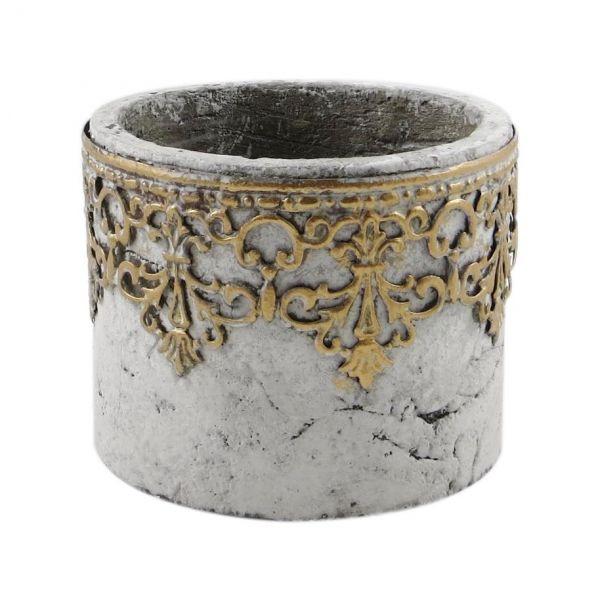 Parts4Living Zement Übertopf Blumentopf mit Metall Ornamenten grau gold 12x10 cm