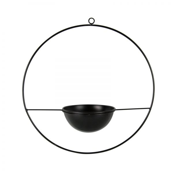 Parts4Living Metall Ring zum Aufhängen hängender Blumentopf Skandi schwarz 38cm