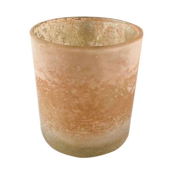 Parts4Living Glas Teelichthalter Teelichtglas Windlicht gefrostet hellrosé 7x8cm