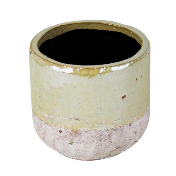 Parts4Living Keramik Übertopf Blumentopf Pflanzgefäß creme weiß rund 16,5x15,5cm