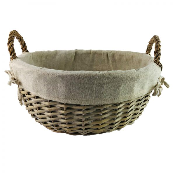 Parts4Living Weidenkorb Korb mit Textileinsatz rund grau gewaschen 34 x 16 cm