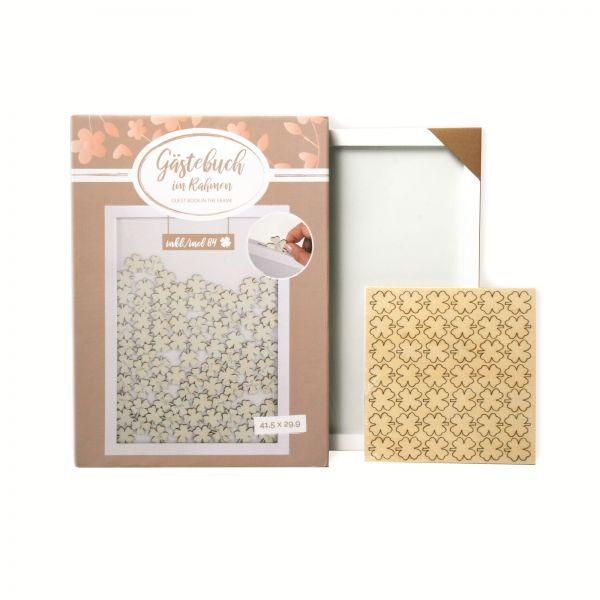 Parts4Living Gästebuch im Rahmen Hochzeitsgästebuch mit Kleeblättern 42x30 cm