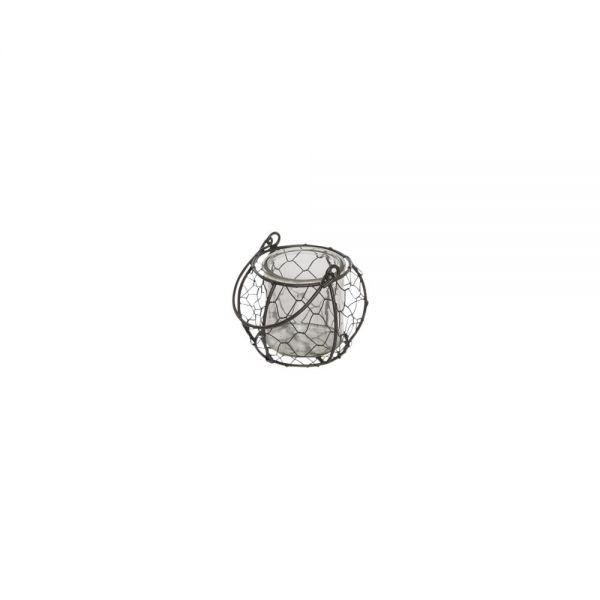 Parts4Living Draht Windlicht mit Bügel Teelichthalter mit Glas grau 12,5x8,5 cm
