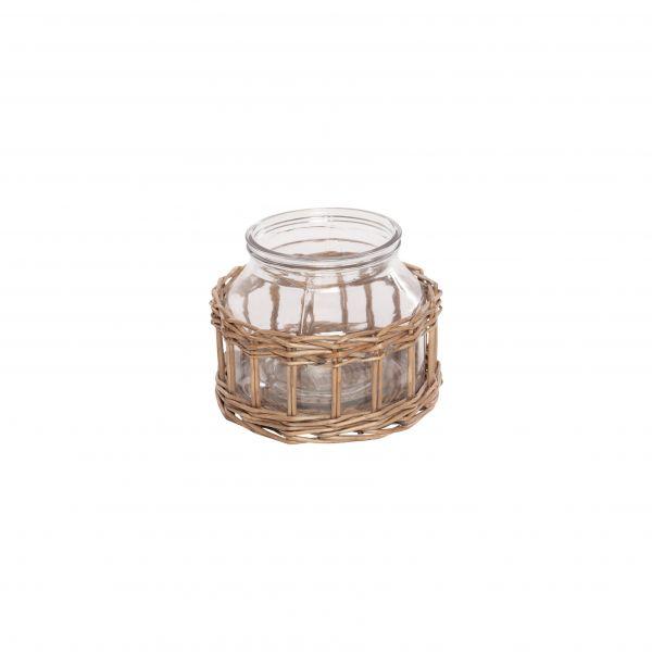 Parts4Living Glas Vase im Weidenkorb Blumenvase im Boho Stil Dekovase 17x14cm