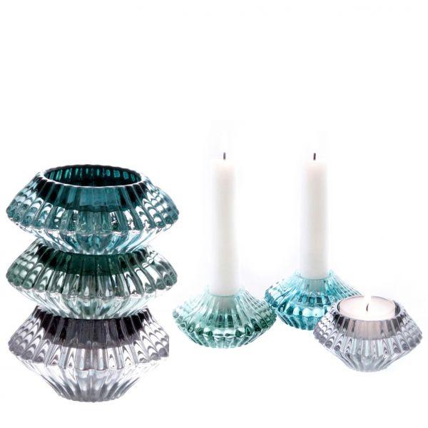 """Parts4Living Glas Kerzenhalter """"Kristall"""" für Stabkerzen und Teelichter 3er Set"""
