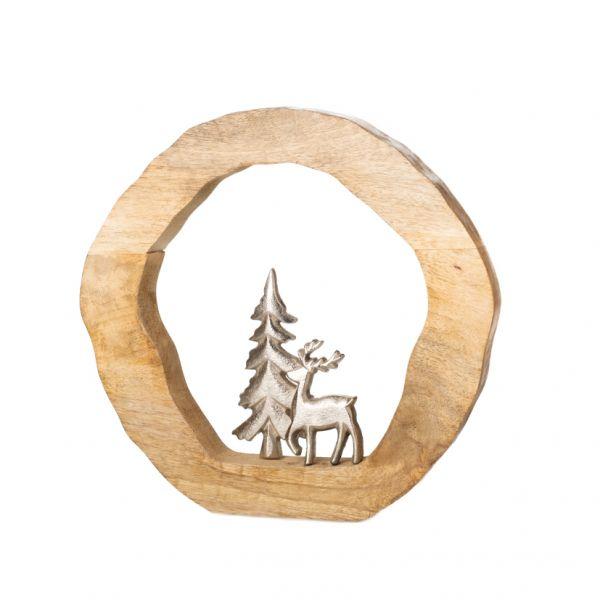 Parts4Living Ring mit Hirsch und Tanne aus Mangoholz und Aluminium 19x3x20 cm