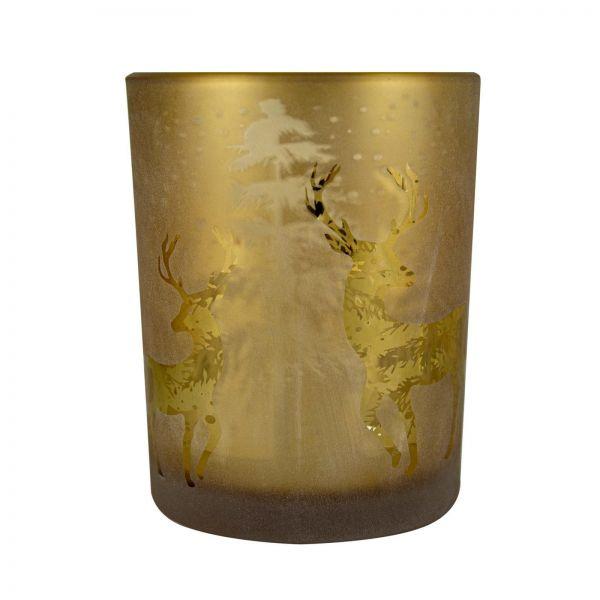 Parts4Living Glas Teelichthalter mit Wald- und Rentiermotiv braun gold 12x18 cm