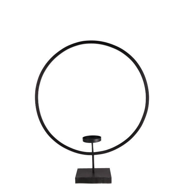 Parts4Living Metall Ring mit Teelichthalter Kerzenhalter schwarz 25x6,5x35,5cm