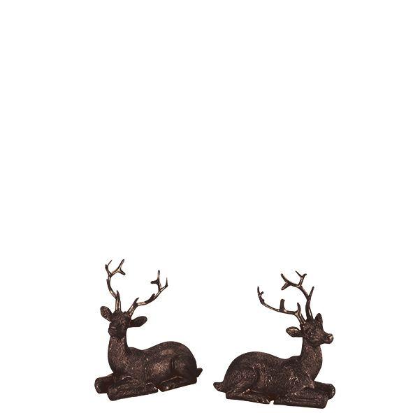 Parts4Living Poly Rentiere im 2er Set Dekofigur Weihnachtsdeko Hirsch braun 11cm