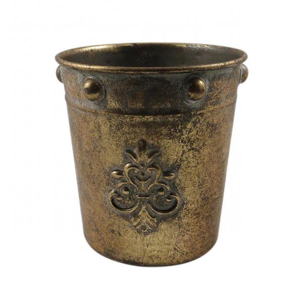 Parts4Living Metall Übertopf Blumentopf mit Ornamenten Vase matt gold 13,5x14 cm