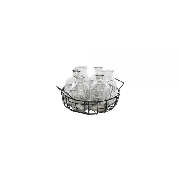 Parts4Living Draht Korb mit Henkeln und 6 Glasflaschen Vasen schwarz 22x5,5cm
