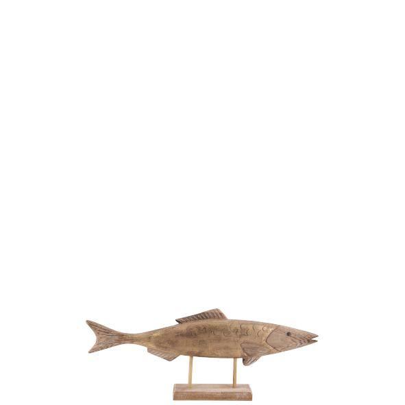 Parts4Living Holz Fisch auf Sockel Dekofisch mit Goldschimmer maritim 29x5x13 cm