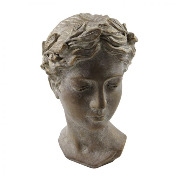 Parts4Living Zement Frauenkopf Frauenbüste Gartenfigur bronze 18,5x17,5x28 cm