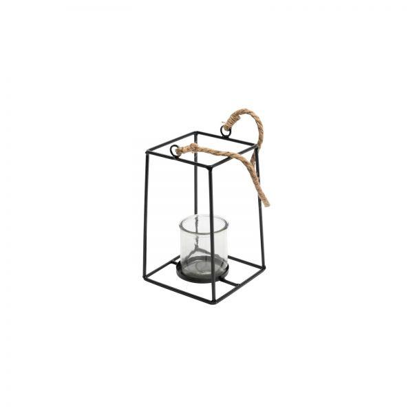 Parts4Living Teelichthalter zum Aufhängen aus Metall mit Glaseinsatz 10x10x17 cm