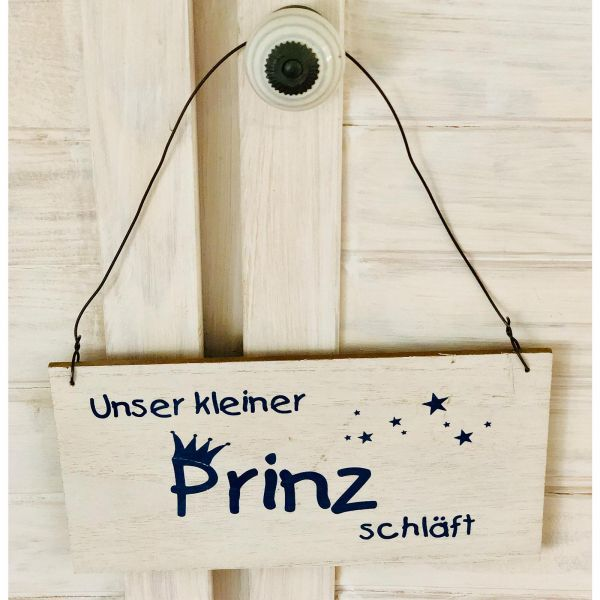Parts4Living Holz Schild Türschild für Kinderzimmer weiß blau 23 x 22 x 0,5 cm