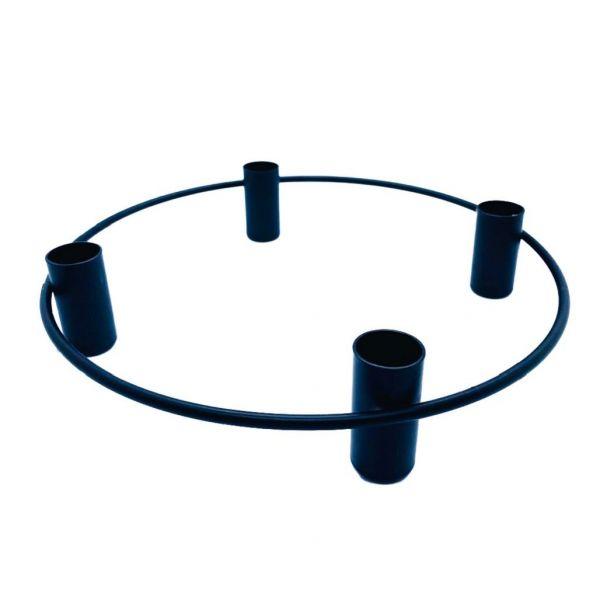 Parts4Living Metall Ring mit 4 Stabkerzenhaltern Adventskranz schwarz 25x5 cm
