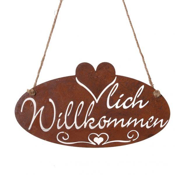 """Parts4Living Metall Schild """"Herzlich Willkommen"""" zum Hängen Edelrost 27x15cm"""