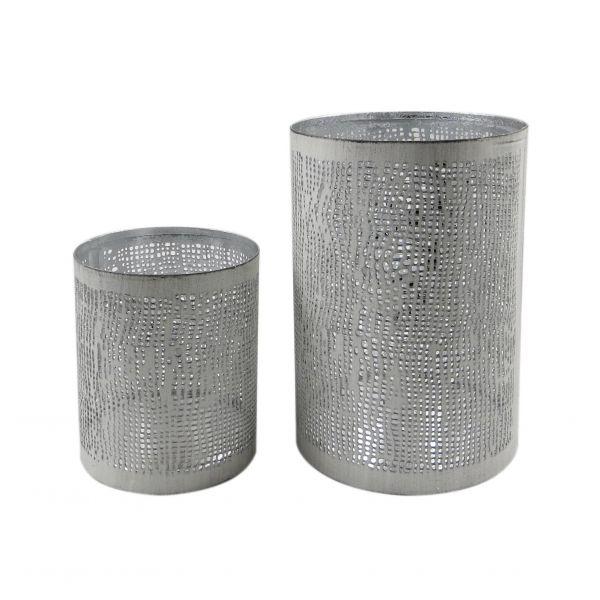 Parts4Living Metall Teelichthalter Windlicht im 2er Set weiß silber 8x10/10x15 cm