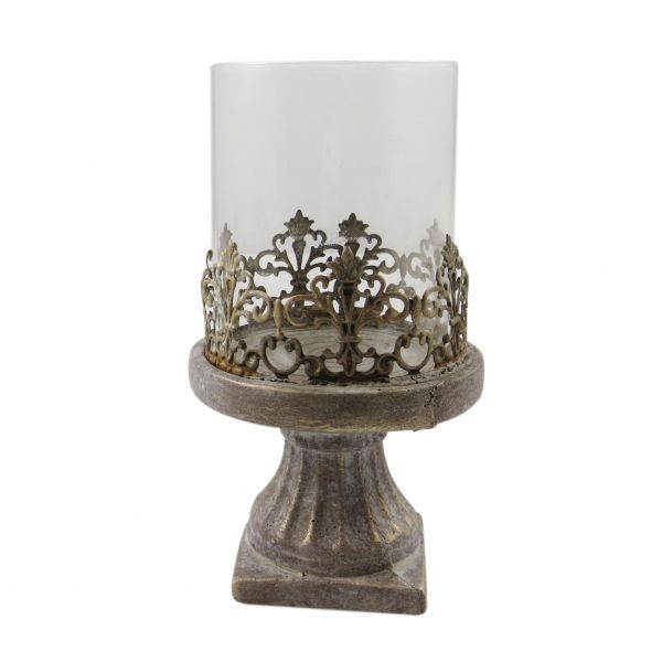 Parts4Living Zement Windlicht Kerzenhalter Kerzenständer Glaseinsatz 15 x 28 cm