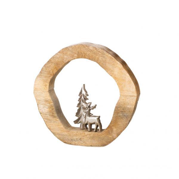 Parts4Living Ring mit Hirsch und Tanne aus Mangoholz und Aluminium 14x3x15 cm