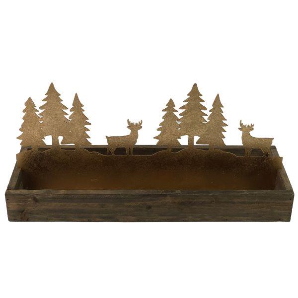 Parts4Living Gesteckunterlage aus Holz und Metall Hirsche und Tannen 37x13x17 cm