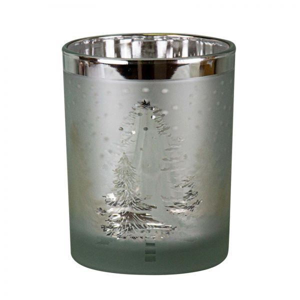 """Parts4Living Glas Teelichthalter """"Winterlandschaft"""" Teelichtglas silber 12x18cm"""
