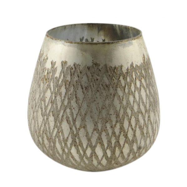 Parts4Living Glas Teelichthalter Teelichtglas Kerzenhalter matt silber 13x13 cm