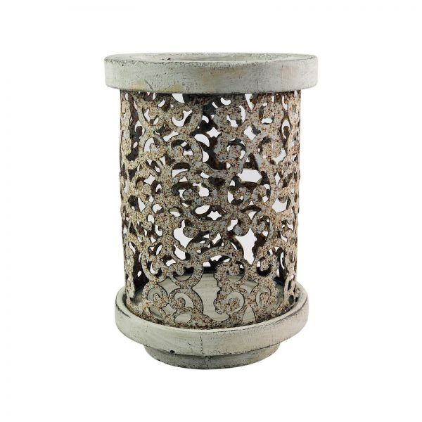 Parts4Living Zement Windlicht mit Ornamenten aus Metall Kerzenhalter 12,5x18,5cm