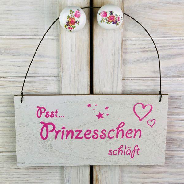 Parts4Living Holz Schild Türschild für Kinderzimmer weiß rosa 23 x 22 x 0,5 cm