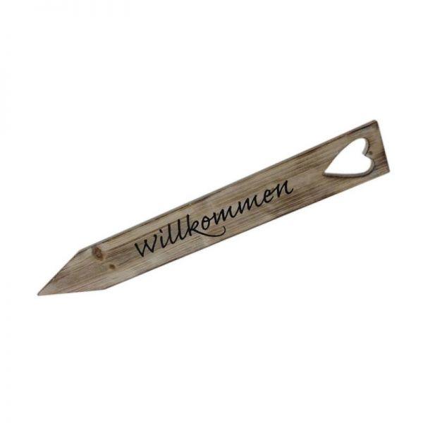 """Parts4Living Kistenholz """"Willkommen""""-Stecker Gartenstecker grau gewaschen 7x52cm"""