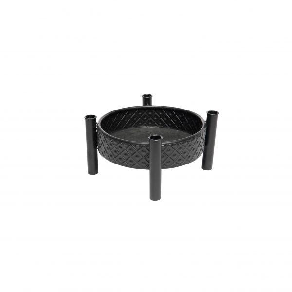 Parts4Living Metall Tablett mit 4 Stabkerzenhaltern Adventskranz schwarz 31x14 cm