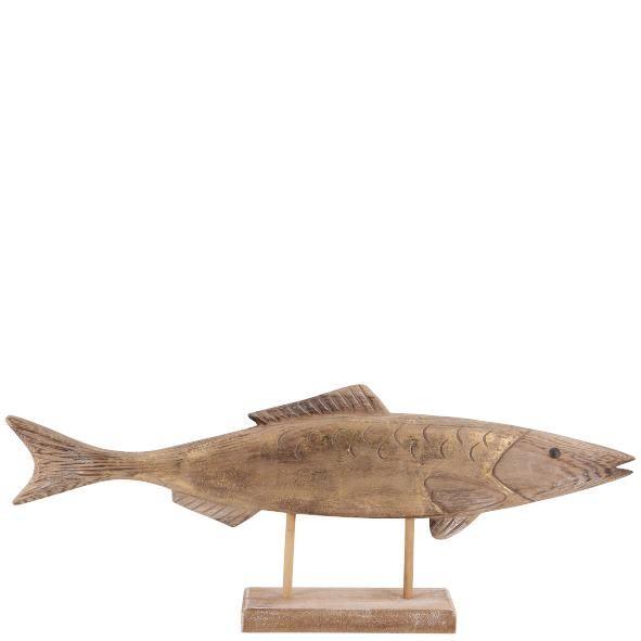 Parts4Living Holz Fisch auf Sockel Dekofisch mit Goldschimmer maritim 52x6x21 cm