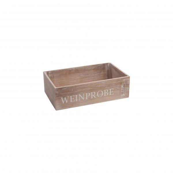 """Parts4Living Holzkiste mit Aufdruck """"Weinprobe"""" Dekokiste braun 33x20 x10 cm"""