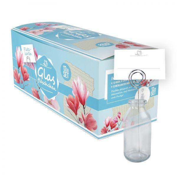 Parts4Living Glasflaschen für Platzkarten Hochzeitsdeko Tischdekoration 12er Set