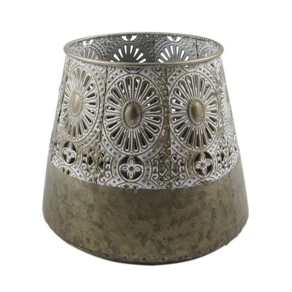 Parts4Living Laterne mit Ornamenten aus Metall orientalischer Stil 18x18x16,5 cm