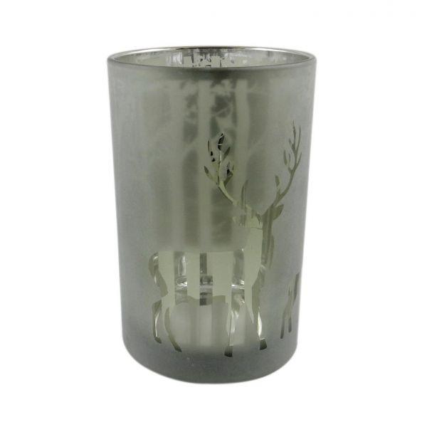 Parts4Living Glas Teelichthalter mit Wald- und Rentiermotiv grün 12x18 cm