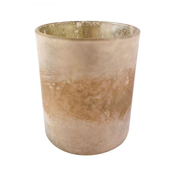 Parts4Living Glas Teelichthalter Teelichtglas Windlicht hellrosé 9x10 cm