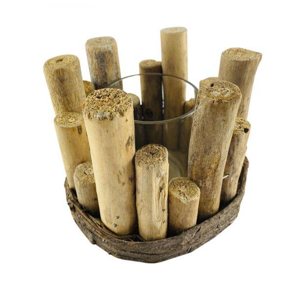 Parts4Living Holz Kerzenhalter Windlicht mit Glaseinsatz rustikal 14x11 cm