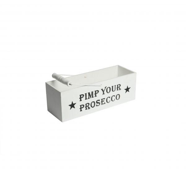 """Parts4Living Holzkiste mit Aufdruck """"Pimp your Prosecco"""" Präsentkorb 35x13x12cm"""