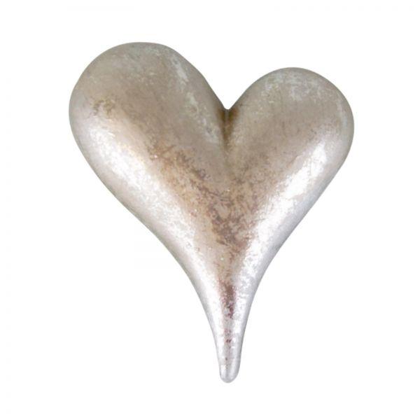 Parts4Living Keramik Herz liegend edles Dekoherz Tischdeko silber 9,7 x 7,6 cm