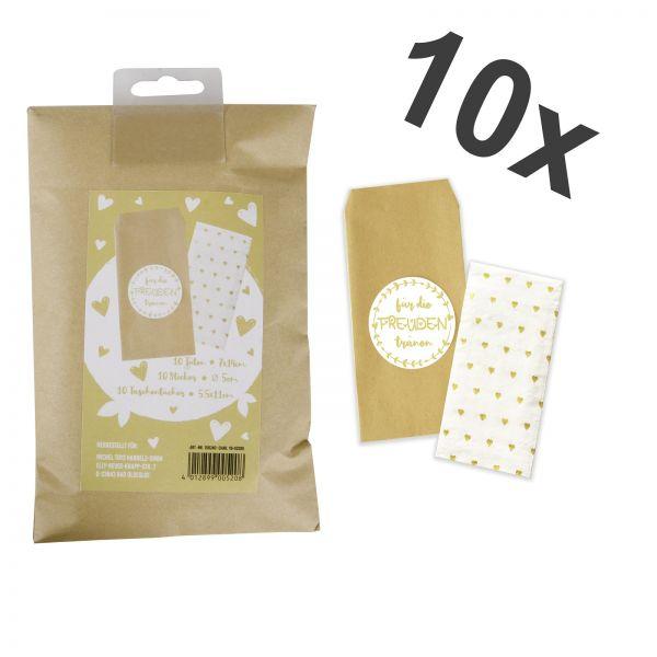 10x Parts4Living Freudentränen Set aus 10 Tüten, Aufklebern & Taschentüchern