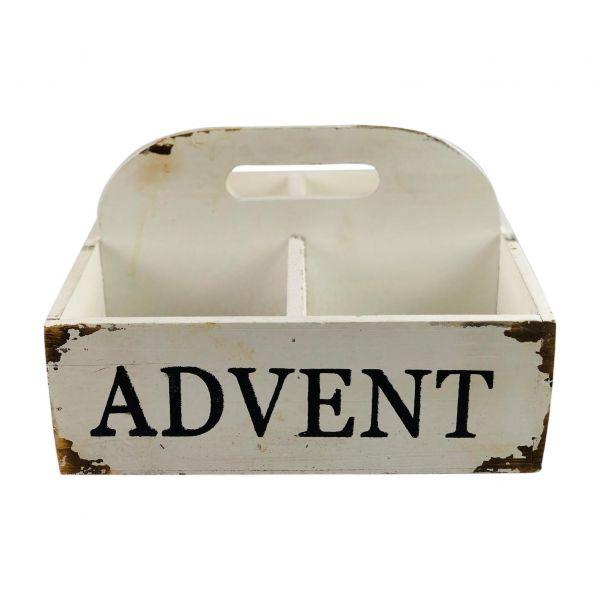 Parts4Living Antikholz Adventskiste mit Griff Holzkiste weiß 25 x 25 x 15 cm