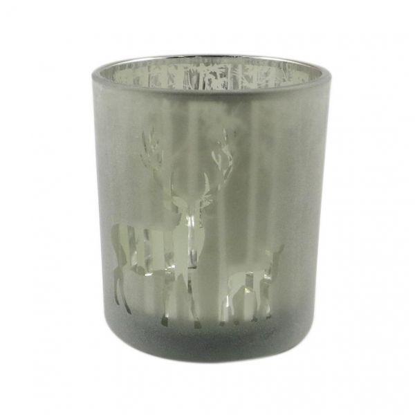 Parts4Living Glas Teelichthalter mit Wald- und Rentiermotiv grün 8,8x10 cm