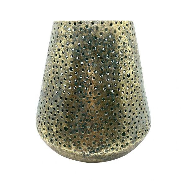 Parts4Living Metall Windlicht Kerzenhalter mit schönem Lochmuster gold 17x17cm
